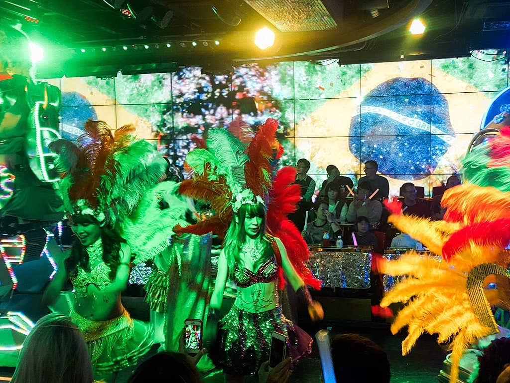Brazilian carnival or cabaret-like performance in robot restaurant