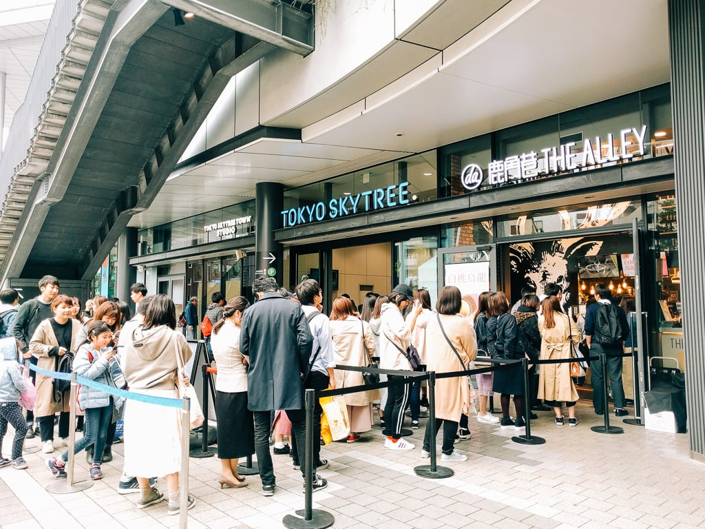 Long line at a restaurant in Tokyo Skytree
