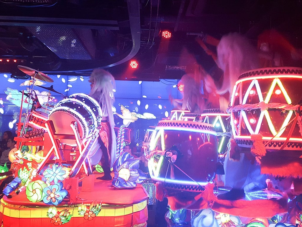 Taiko Drum performance in Robot restaurant