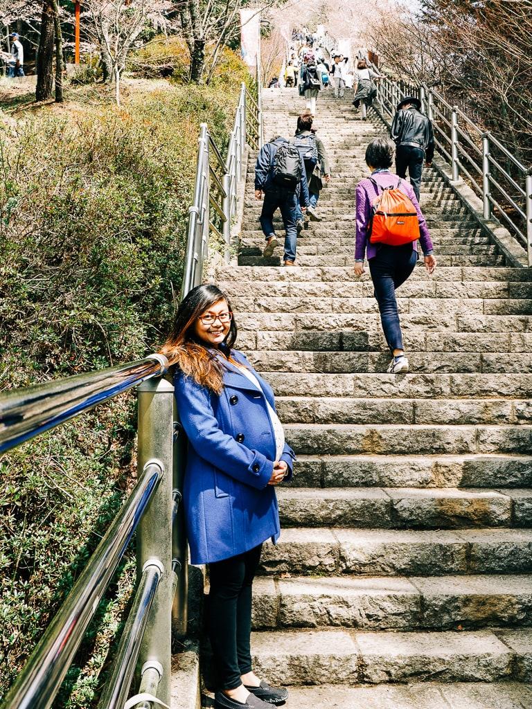 The climb from Arakurayama Sengen Park