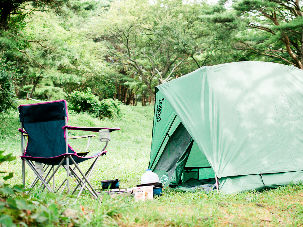 Camp chair and camping tent