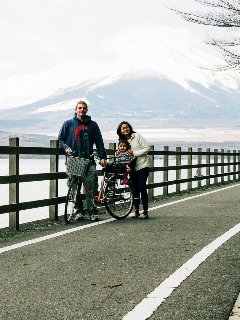 Our family pic, behind is the obstructed Mt Fuji