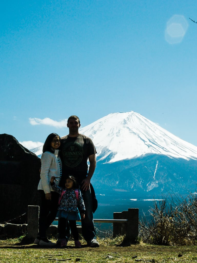 Hiking Mt Tenjo in Lake Kawaguchi - family pic in Nakabadaira