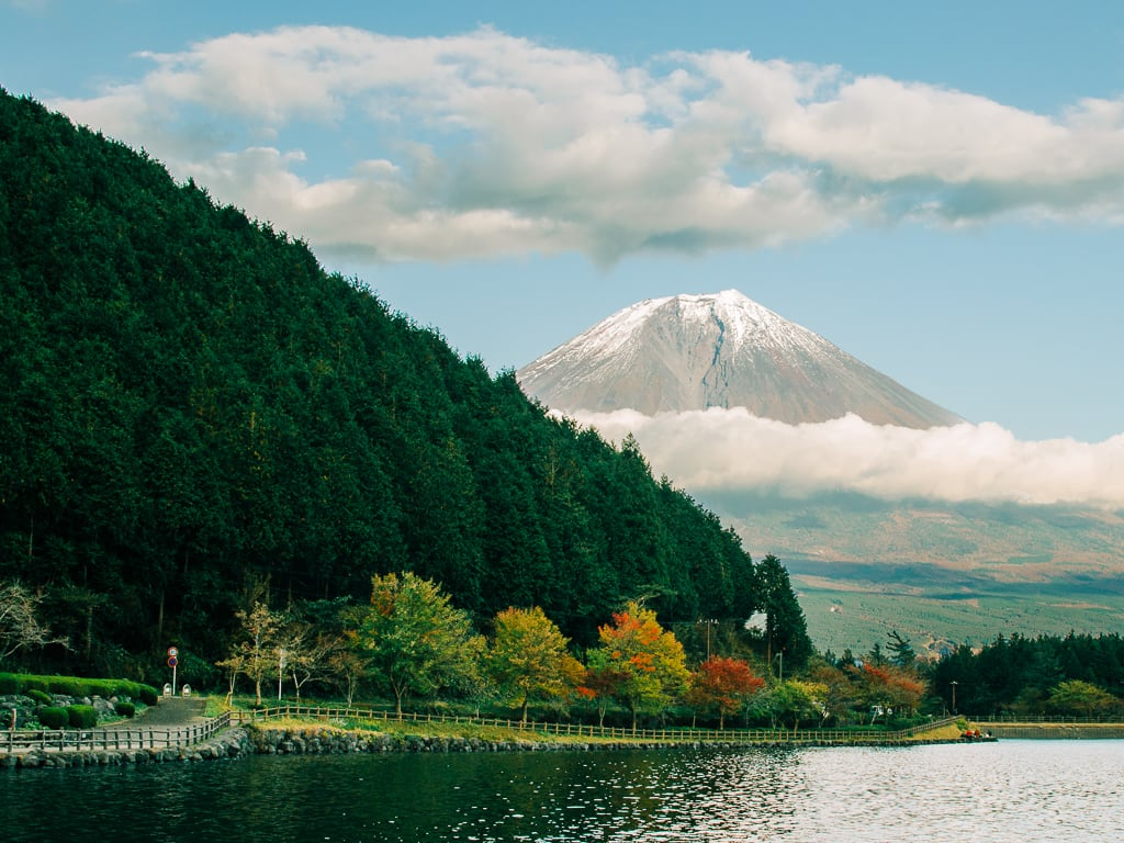 Biking in Lake Tanuki with views of Mount Fuji 1