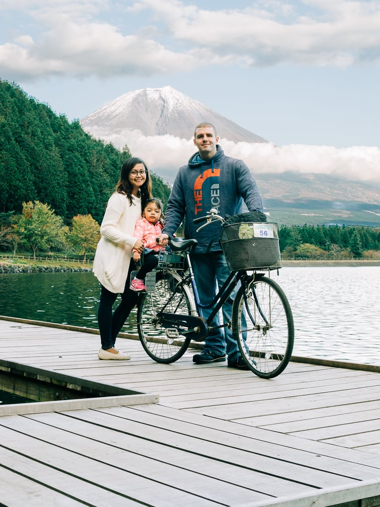 Biking in Lake Tanuki with views of Mount Fuji 2