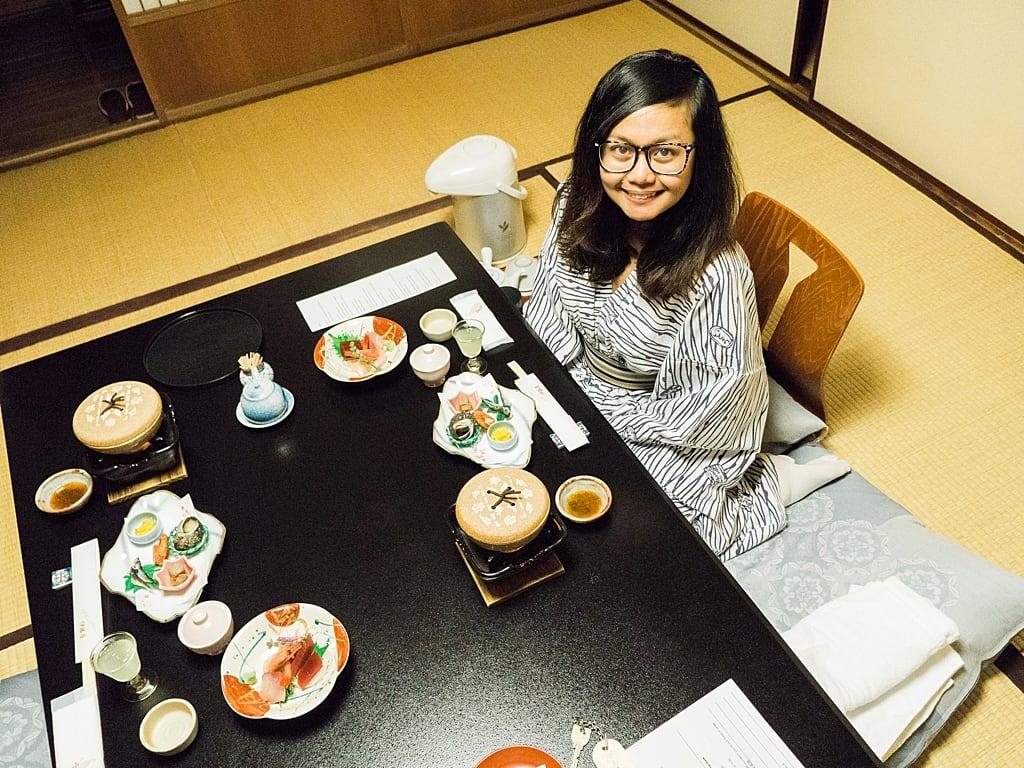 Kaiseki meal in ryokan with a yukata
