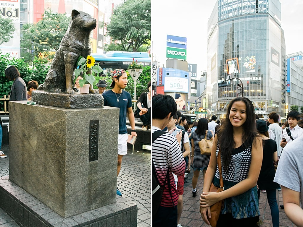 My friend Mica and Hachiko in Shibuya Station